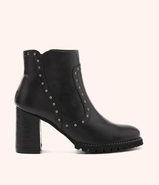 Casual leather high heel ankle boots with metallic studs