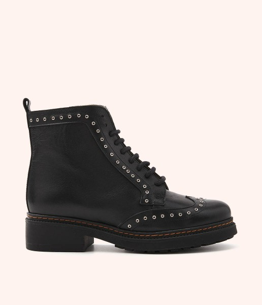 Leather combat boot with laces and metallic ornaments