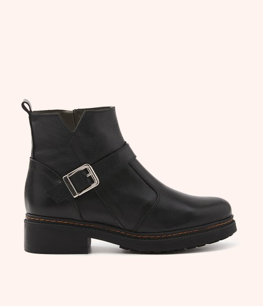 Leather combat ankle boots with ankle strap and buckle