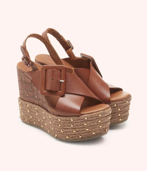 Wedge cross straps with tub lined buckles - Tina