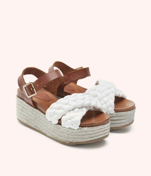 Platform sandal with padded braided strap and buckle fastening - Dua