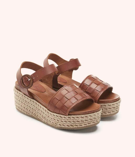 Platform sandal with wool lined and buckle fastening - Lana