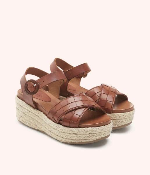 Sandalia de plataforma con tiras cruzadas y cierre de hebilla forrado - Lauren