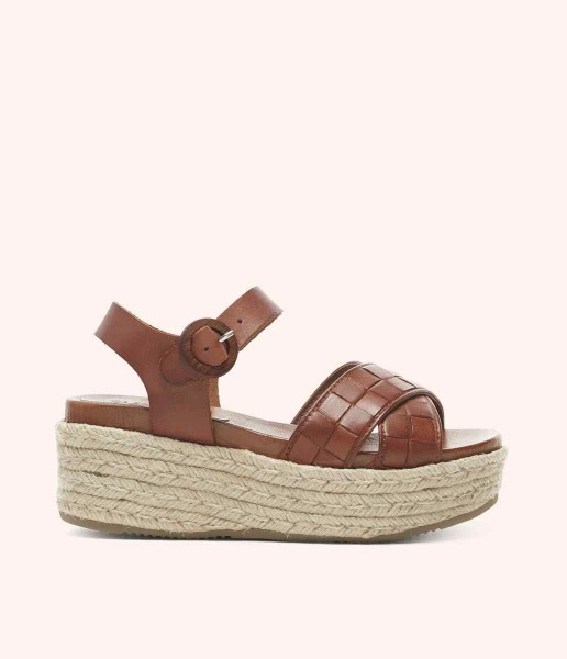 Platform sandal with cross straps and buckle fastening lined - Lauren