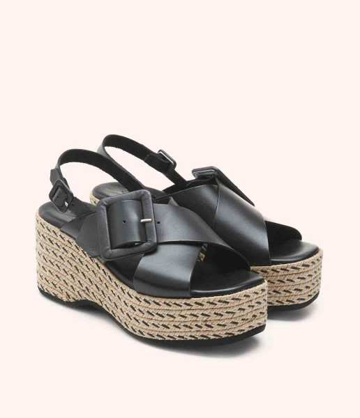 Platform sandal with lined buckles and decorative stitching - Aretha