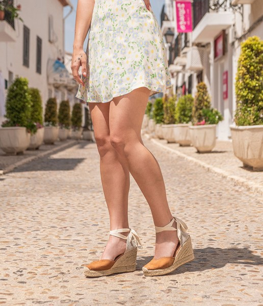 Alpargata de cuña con lazo al tobillo - Marisol