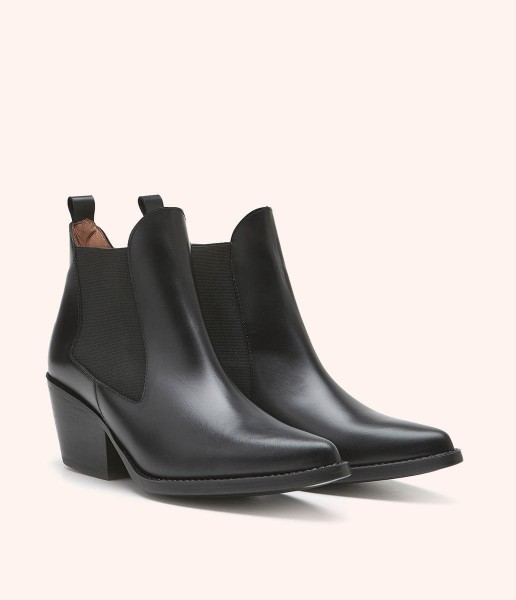 Western style ankle boot with cuban heel and elasticated sides - Beatrice