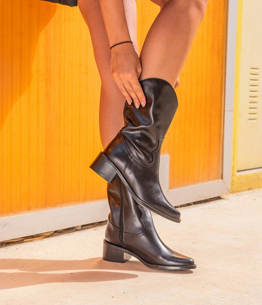 Cowboy style mid-calf boot with zip fastening - Alice